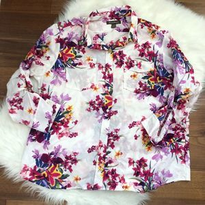 Tommy Bahama | 100% Silk Tropical Floral Blouse